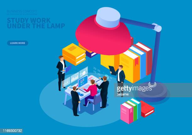 businessman studying and working hard under the lamp - scrutiny stock illustrations