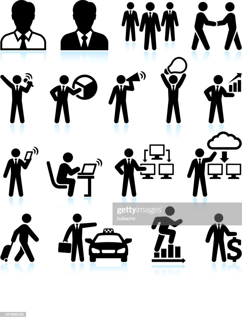 Businessman Success black & white royalty-free vector interface icon set : stock illustration