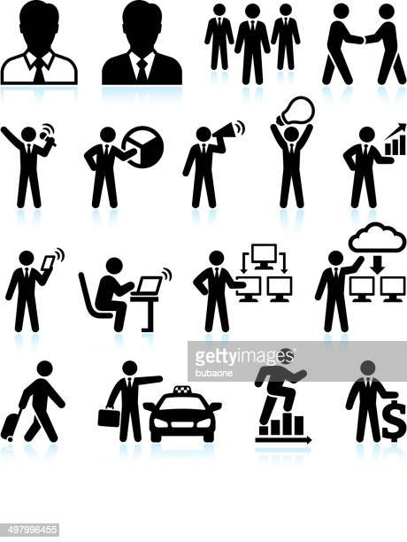 businessman success black & white royalty-free vector interface icon set - office politics stock illustrations, clip art, cartoons, & icons