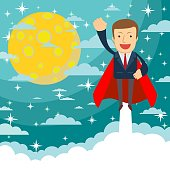 Businessman superhero flies up and leaves a cloud of dust. Stock flat vector illustration.