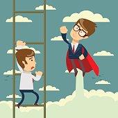 Businessman superhero fly pass businessman climbing the ladder