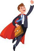 Businessman superhero flying in red cape