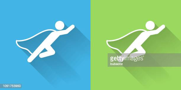 businessman superhero icon with long shadow - heroes stock illustrations