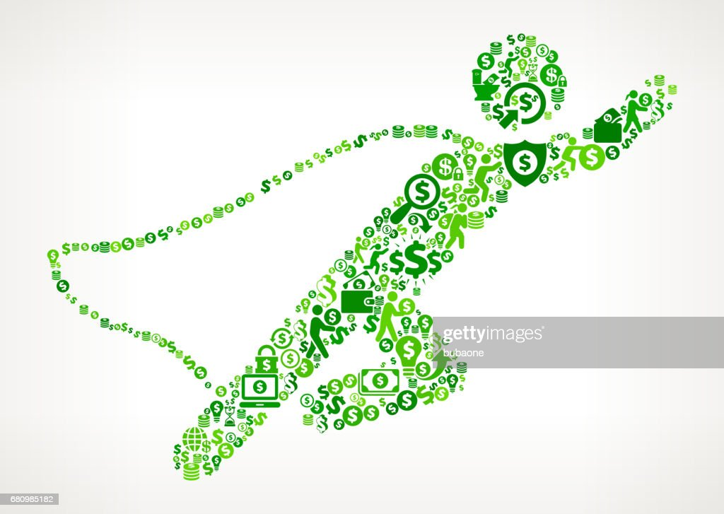 Businessman Superhero Money and Finance Green Vector Icon Background