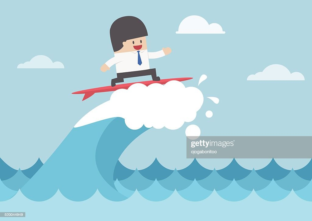 Businessman surfing on wave, Business concept