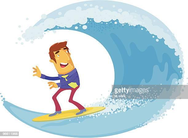 Homme d'affaires surf