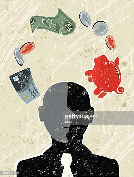 businessman surrounded by money symbols - surrounding stock illustrations, clip art, cartoons, & icons
