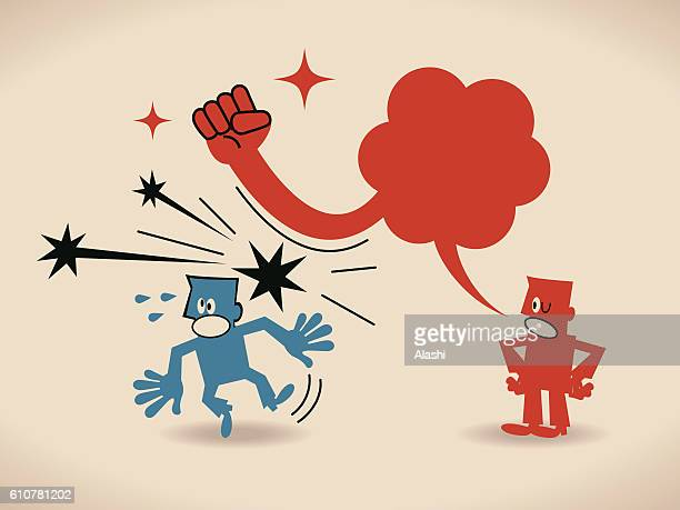 Businessman talking, another man getting hit by speech bubble fist
