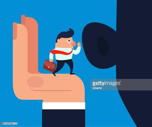 illustrations, cliparts, dessins animés et icônes de homme d'affaires, parler à l'oreille de géant - oreille humaine