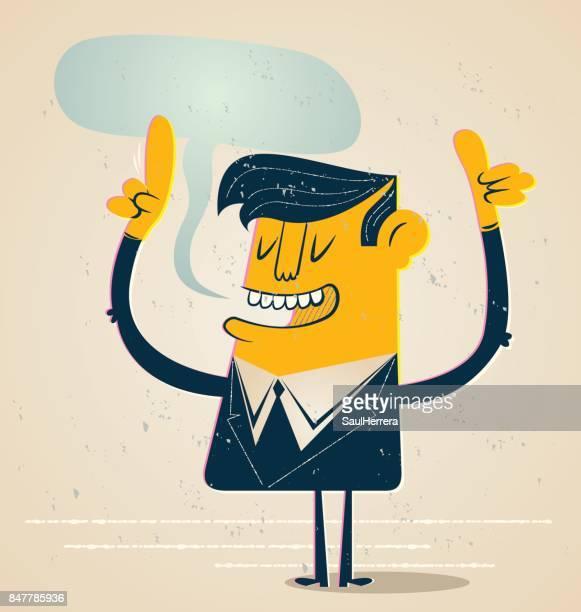 stockillustraties, clipart, cartoons en iconen met zakenman praten - karikatuur