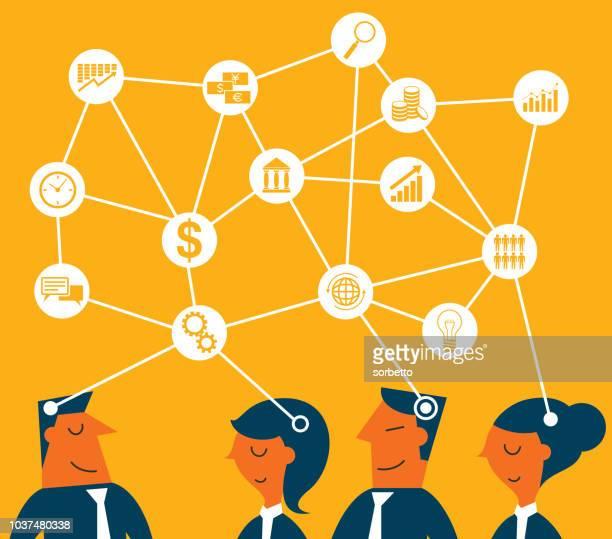 unternehmer - teamarbeit - brainstorming stock-grafiken, -clipart, -cartoons und -symbole