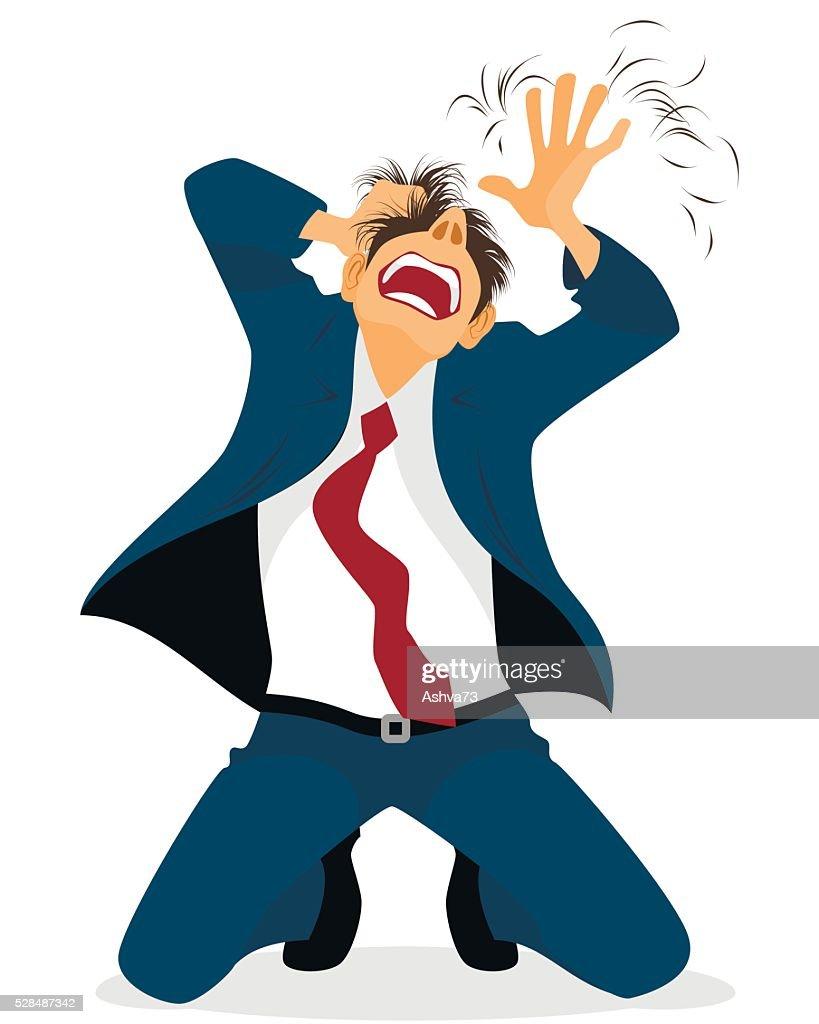 Businessman tearing hair