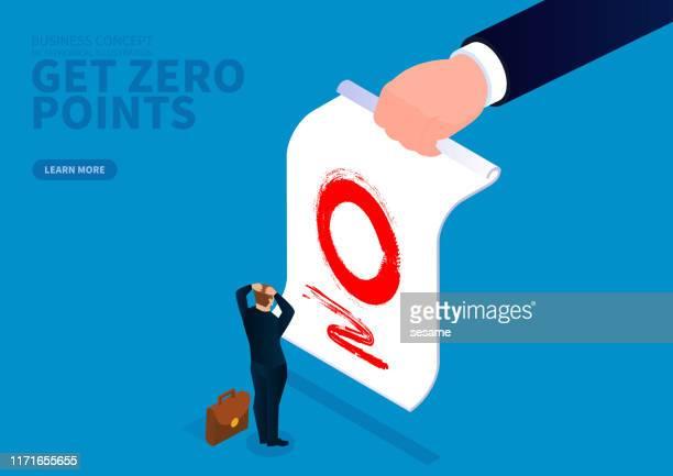businessman test gets zero points - report card stock illustrations