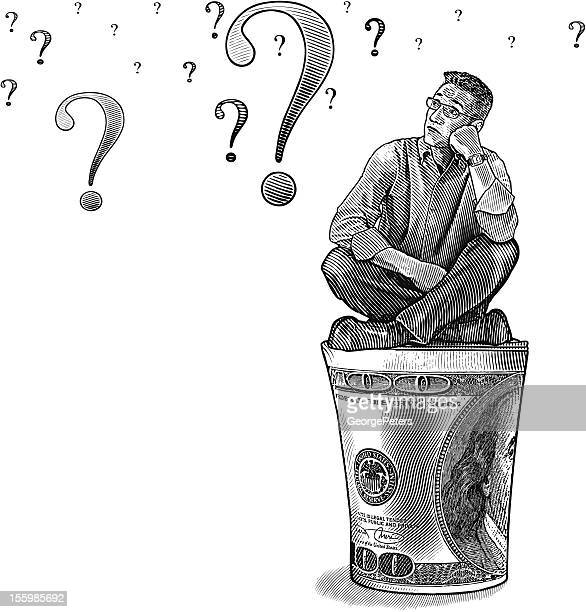 businessman thinking about money - mature adult stock illustrations