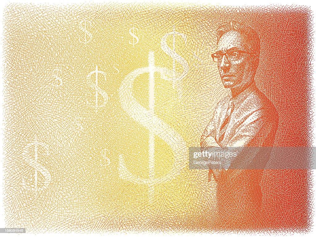 Homme d'affaires pensant à l'argent : Clipart vectoriel