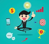 Businessman thinking and getting ideas to success business during meditation, cartoon flat vector background