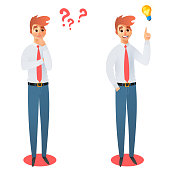 Businessman thinking. Businessman has the answer vector illustration