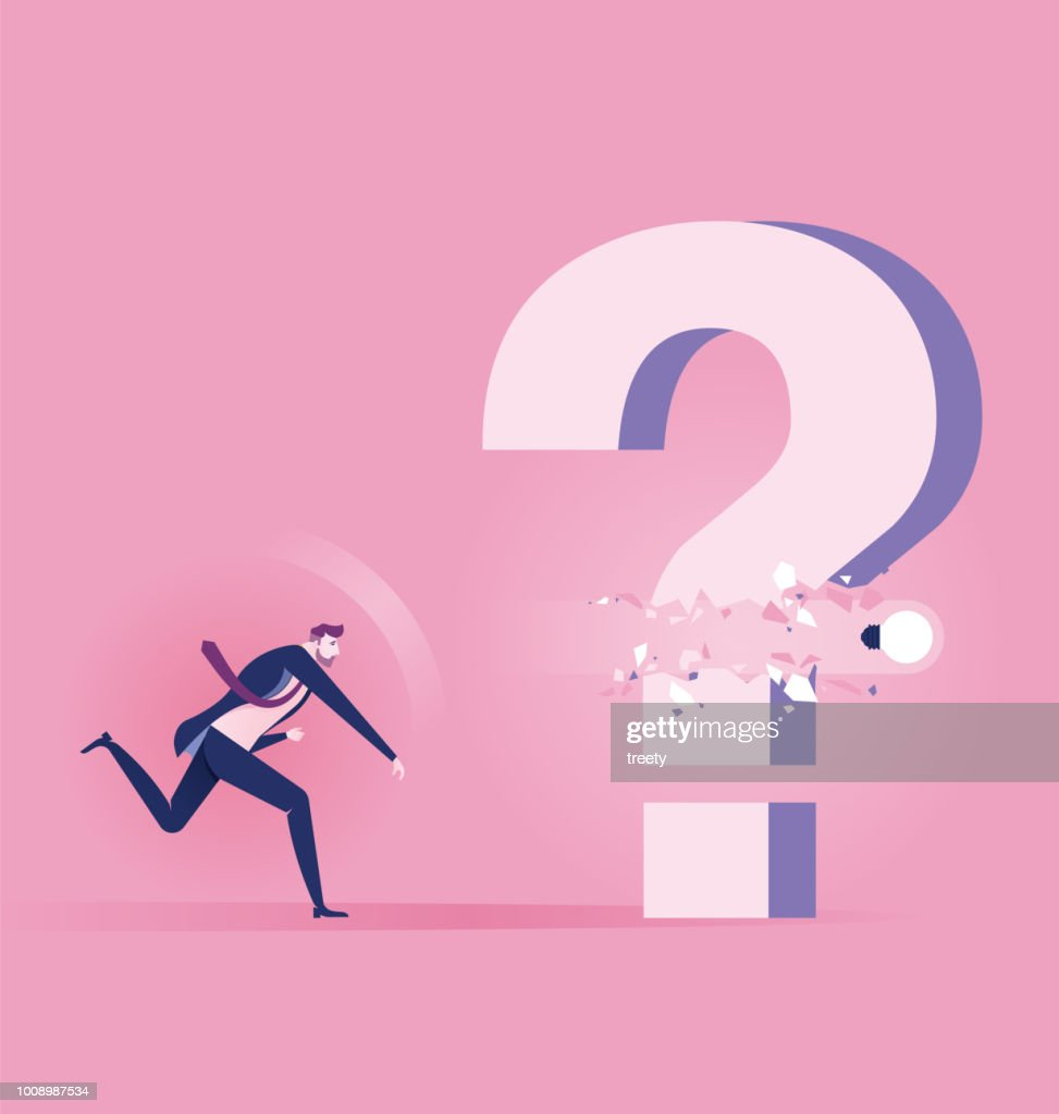 Businessman Throw light bulb to smash question mark sign. Concept achievement vector illustration