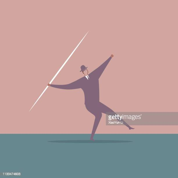 businessman throwing a javelin. - javelin stock illustrations