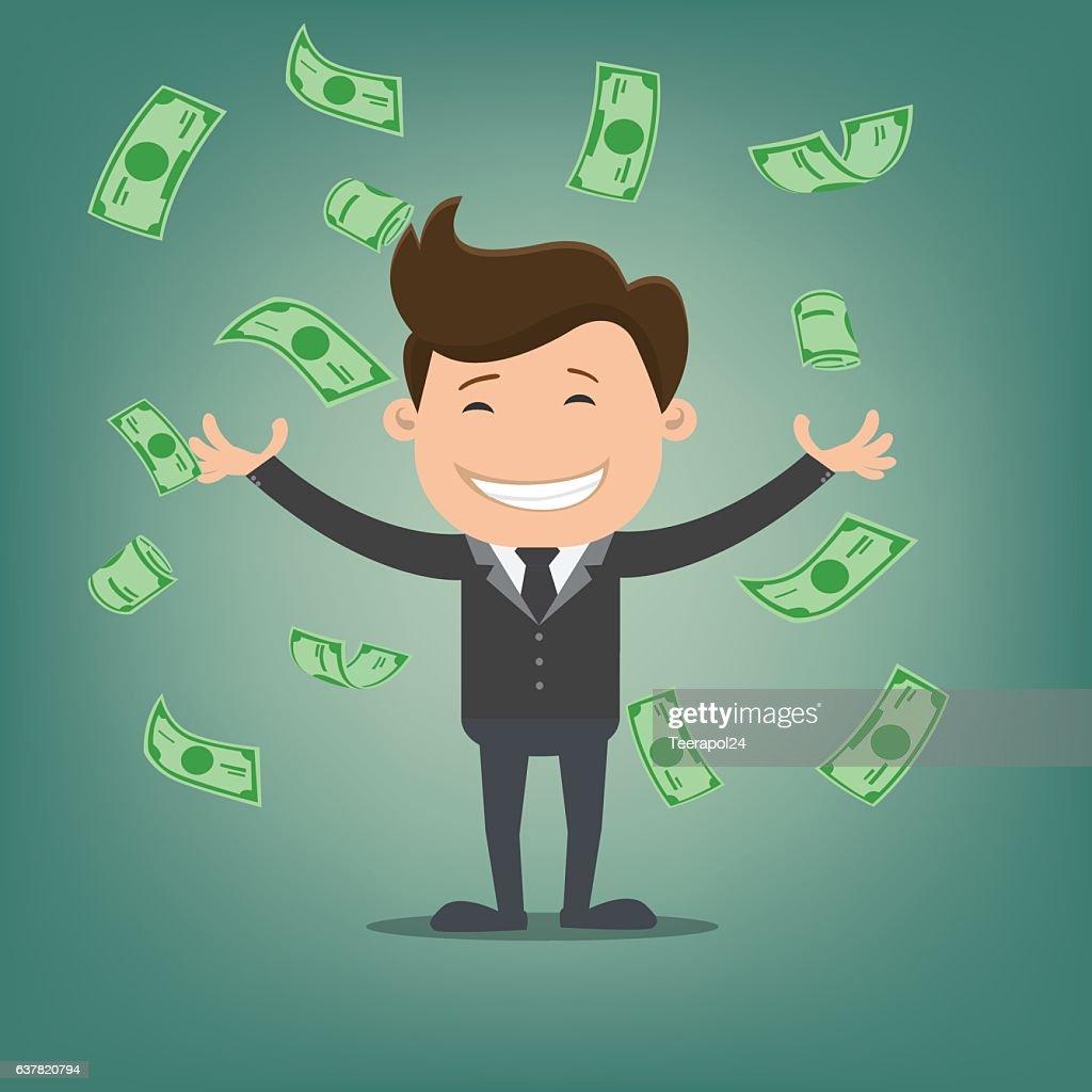 Businessman throwing bank notes -vector illustration