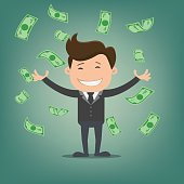 Businessman throwing bank notes -vector illustration