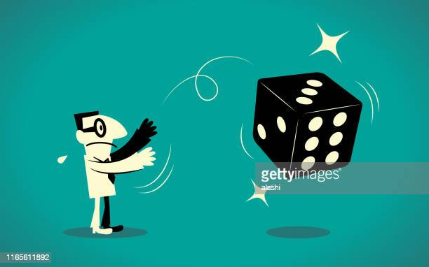 businessman throwing dice - flipping a coin stock illustrations