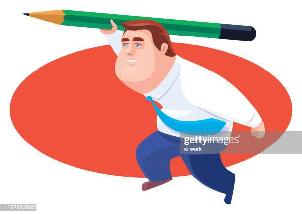 businessman throwing pencil - javelin stock illustrations