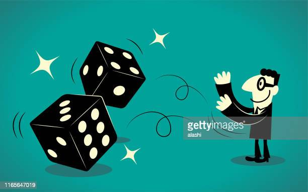 businessman throwing two dice - flipping a coin stock illustrations, clip art, cartoons, & icons