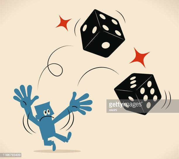 businessman throwing two dice - dice stock illustrations