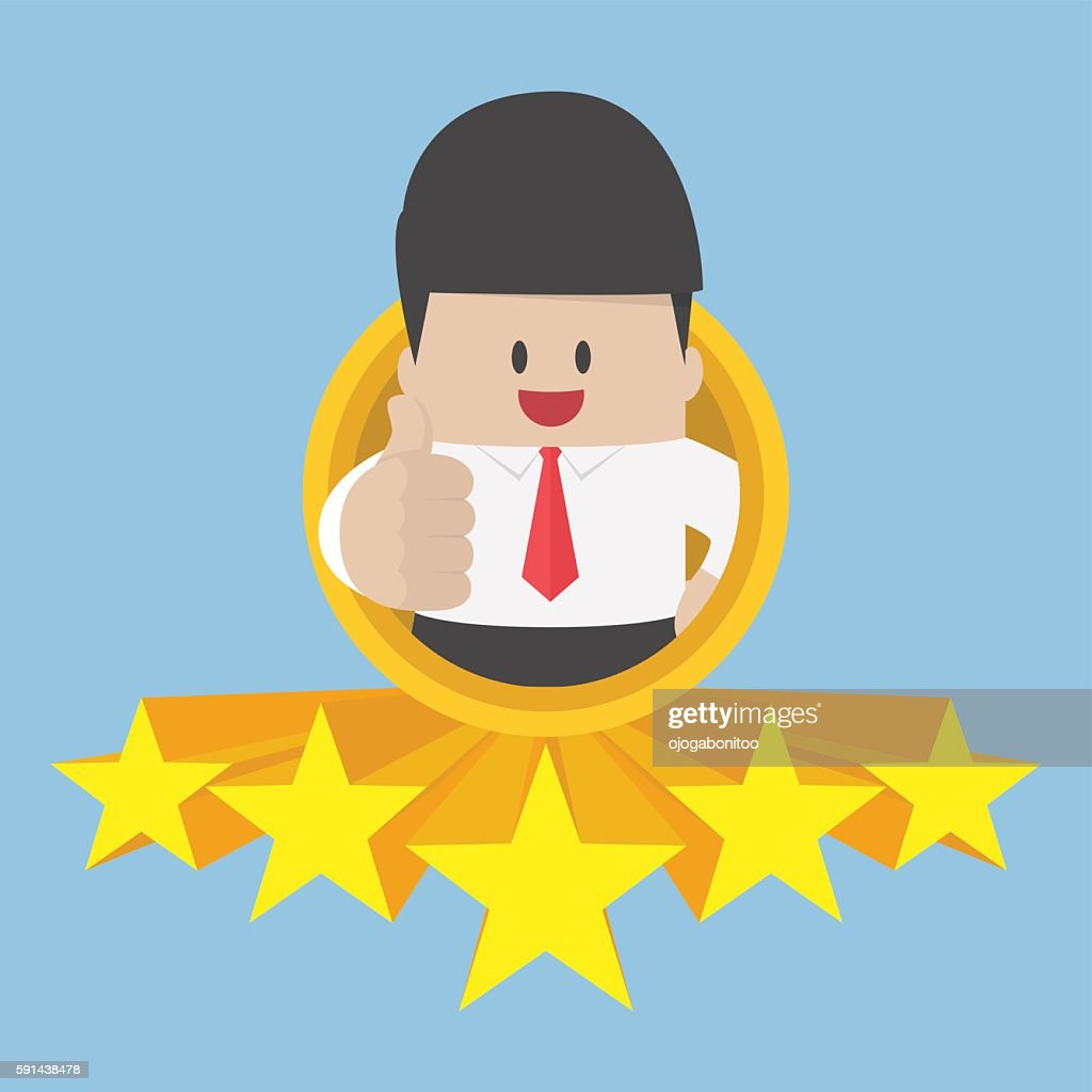 Businessman thumbs up with five star rating