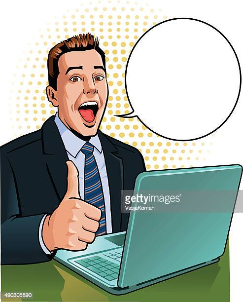 Businessman Thumbs Up With Laptop and Speech Balloon