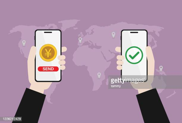 ビジネスマンは、携帯電話で日本の通貨を転送します - 中国元記号点のイラスト素材/クリップアート素材/マンガ素材/アイコン素材