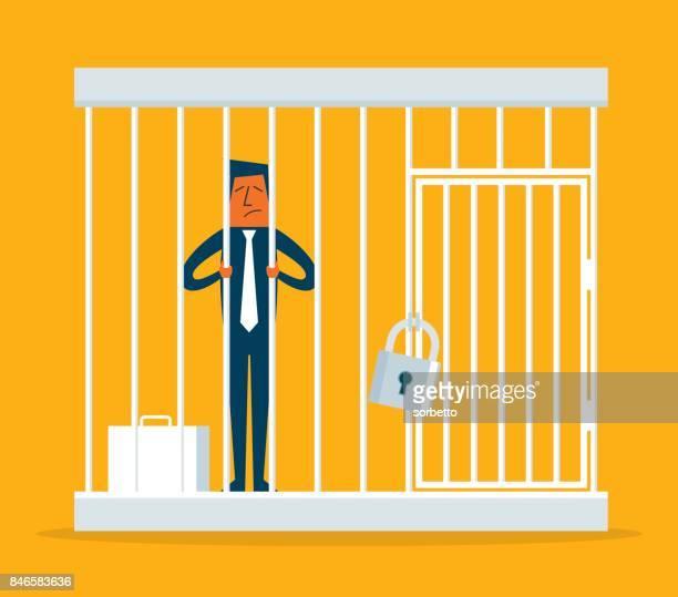 Geschäftsmann gefangen in einem Käfig