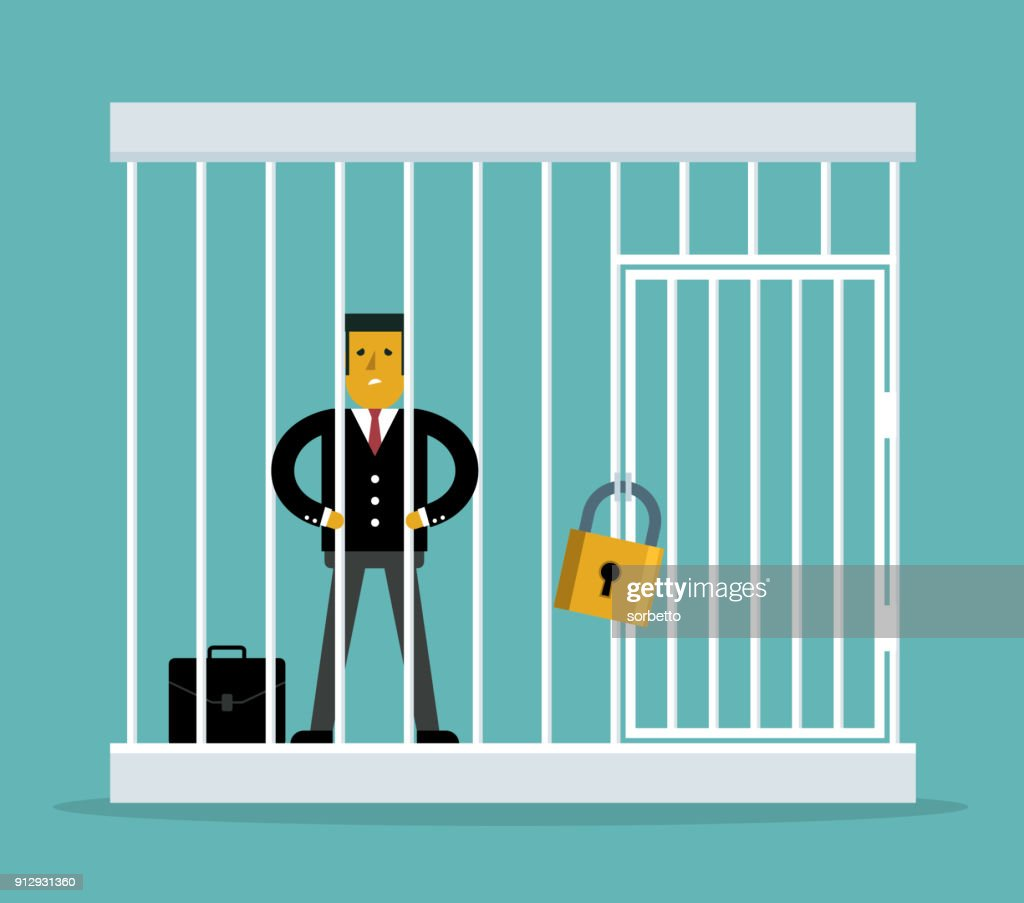 Businessman trapped in a cage : stock illustration