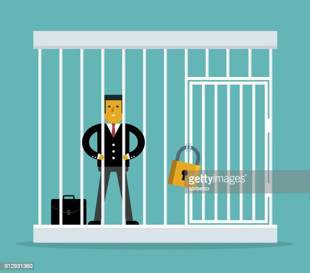 businessman trapped in a cage - overworked stock illustrations