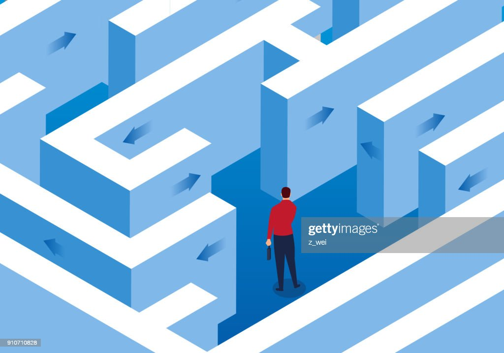 Businessman trapped in a maze