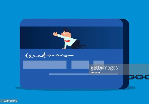 businessman trapped inside a credit card - bribing stock illustrations