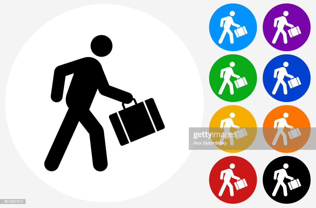 Businessman Traveling Icon On Flat Color Circle Buttons High Res Vector Graphic Getty Images