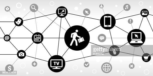 Businessman Traveling Internet Communication Technology Triangular Node Pattern Background
