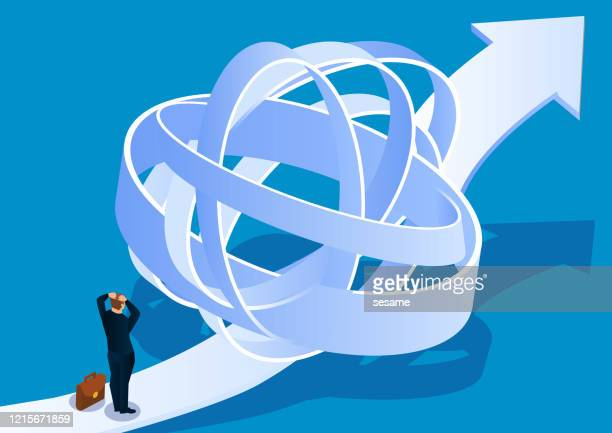businessman tries to find exit from complicated path - complexity stock illustrations