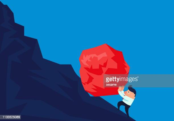 businessman trying to push a huge stone to the top - steep stock illustrations, clip art, cartoons, & icons