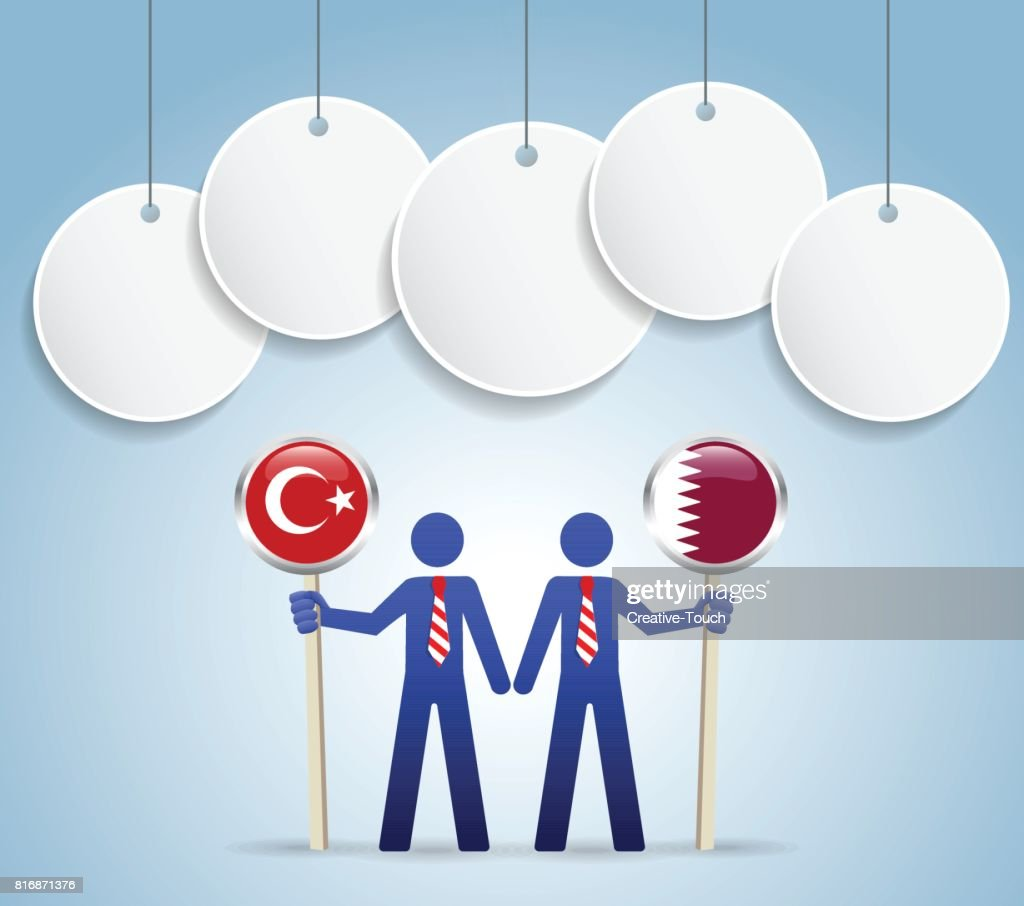 Businessman turkey - qatar flag concept : stock illustration