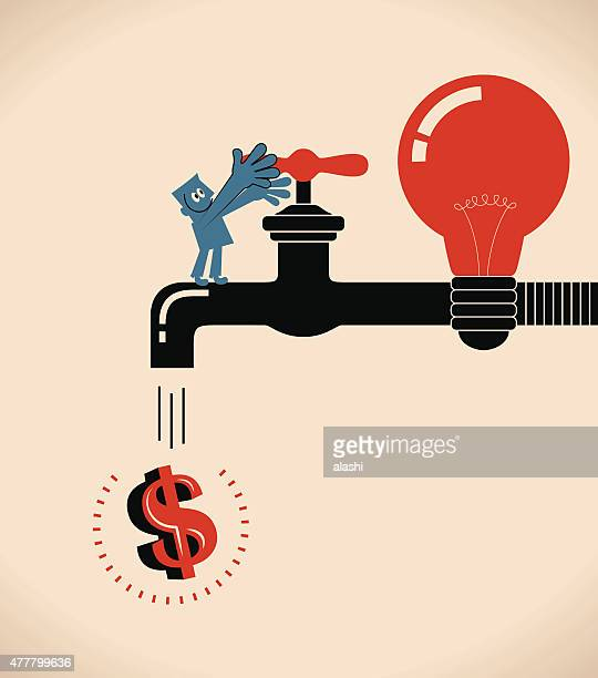 businessman turning on idea bulb shape faucet, dripping (pouring) money