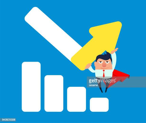 Businessman turns Superman to change arrow direction