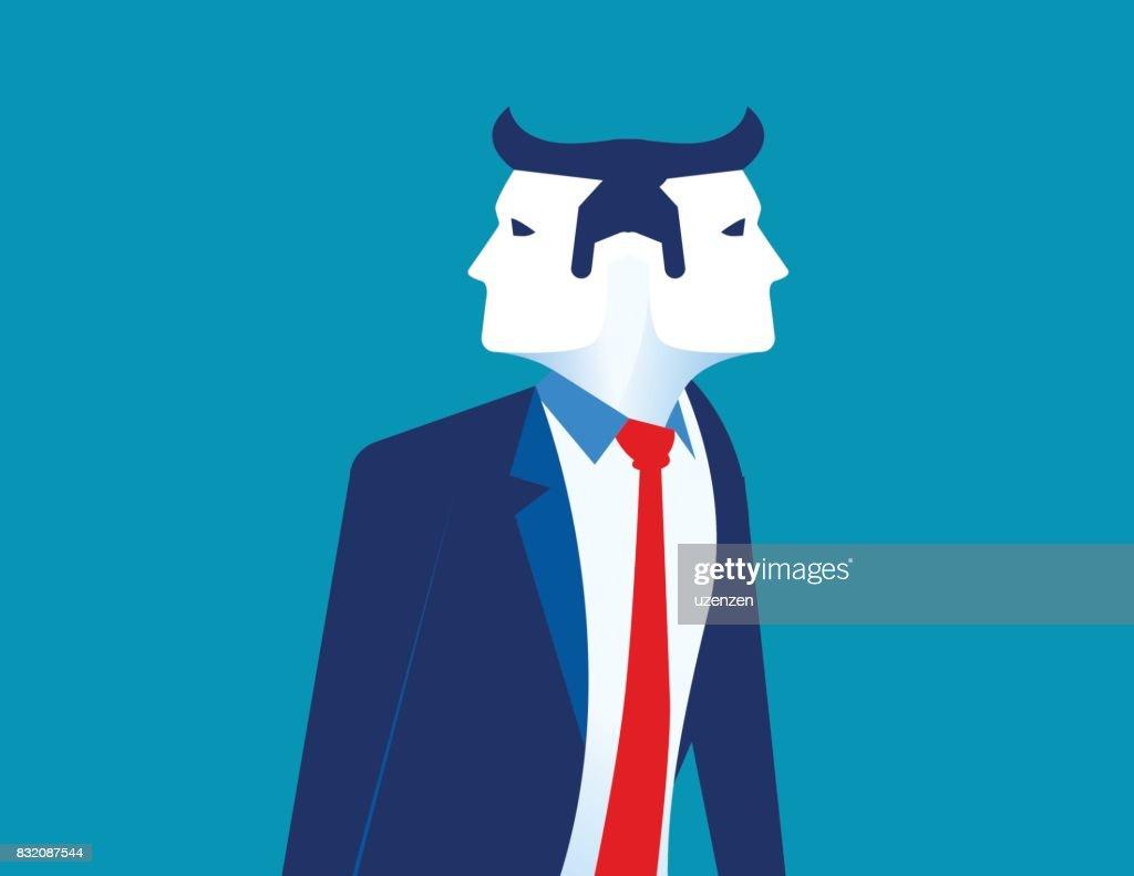 Businessman two face. Concept business vector illustration.