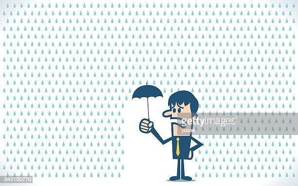 businessman under a little umbrella in the rain - cyclone stock illustrations, clip art, cartoons, & icons
