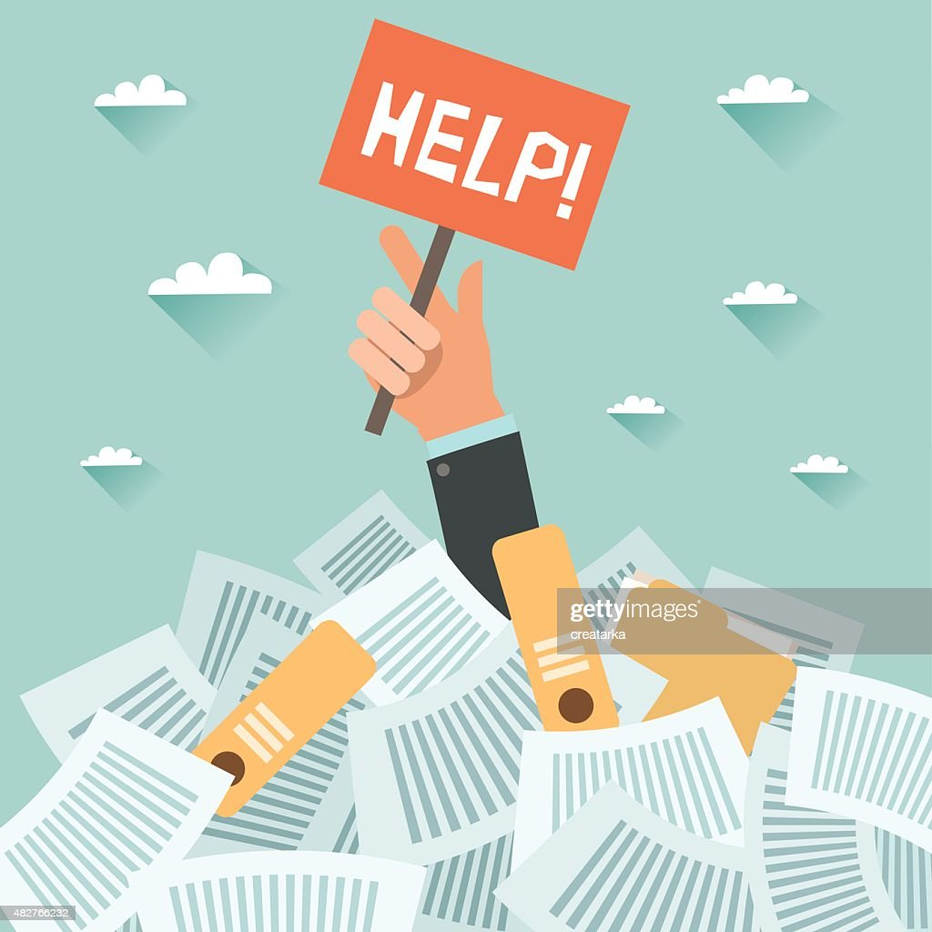 Businessman under a lot of documents and HELP placard