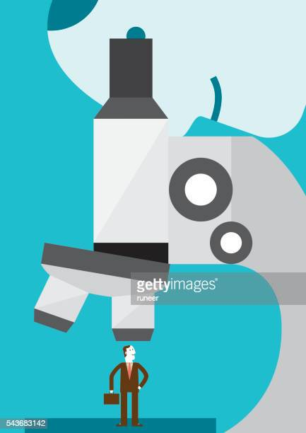 Businessman Under A Microscope | New Business Concept