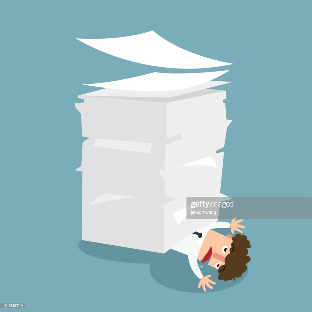 Businessman under the paper,concept a lot of jobs