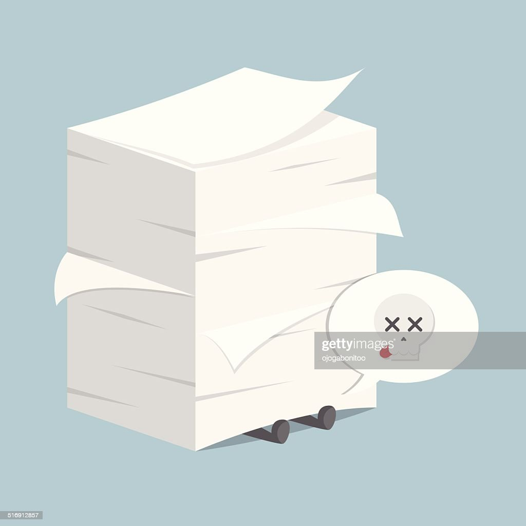 Businessman under the stack of paper